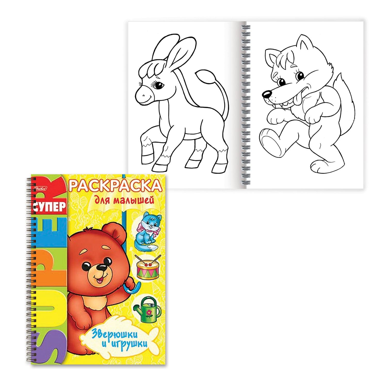 "Книжка-раскраска А4, 32 л., HATBER, ""Супер-Раскраска"", гребень, ""Для самых маленьких"", 32Р4гр 05838"