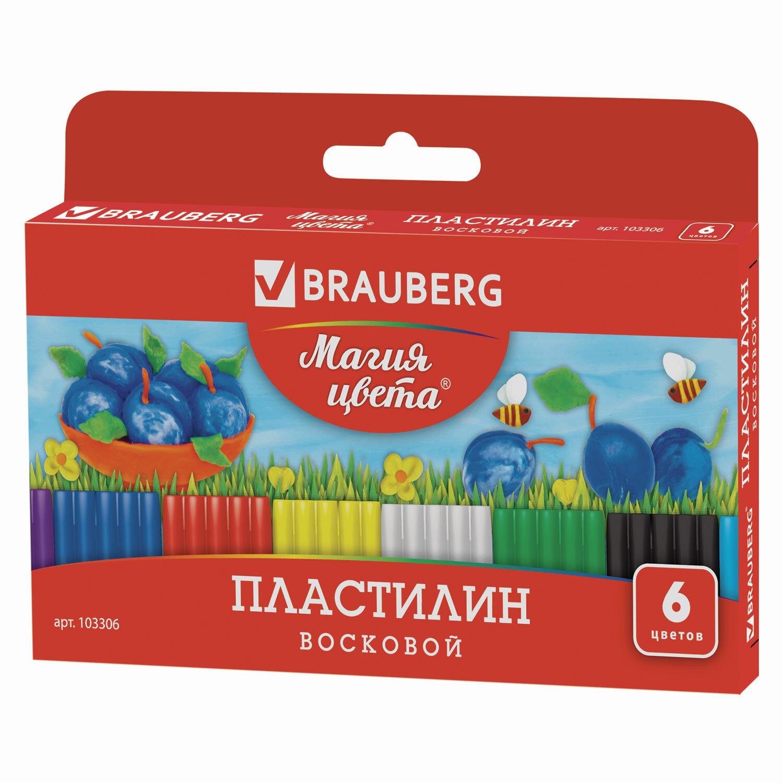 """Пластилин восковой BRAUBERG """"МАГИЯ ЦВЕТА"""", 6 цветов, 90 г, со стеком, европодвес, 103306"""