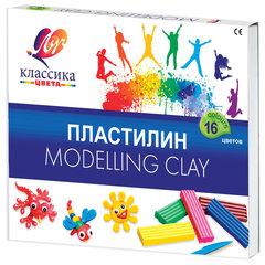 """Пластилин классический ЛУЧ """"Классика"""", 16 цветов, 320 г, со стеком, картонная упаковка, 20С1329-08"""