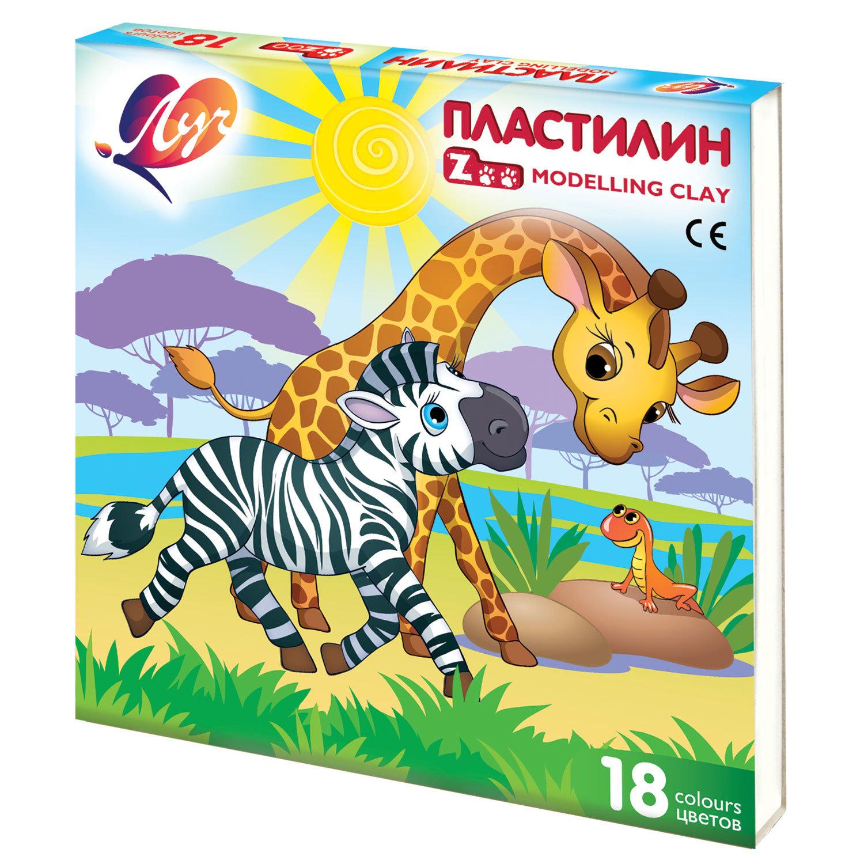 """Пластилин классический ЛУЧ """"Zoo"""", 18 цветов, 243 г, картонная коробка, 20С1358-08"""