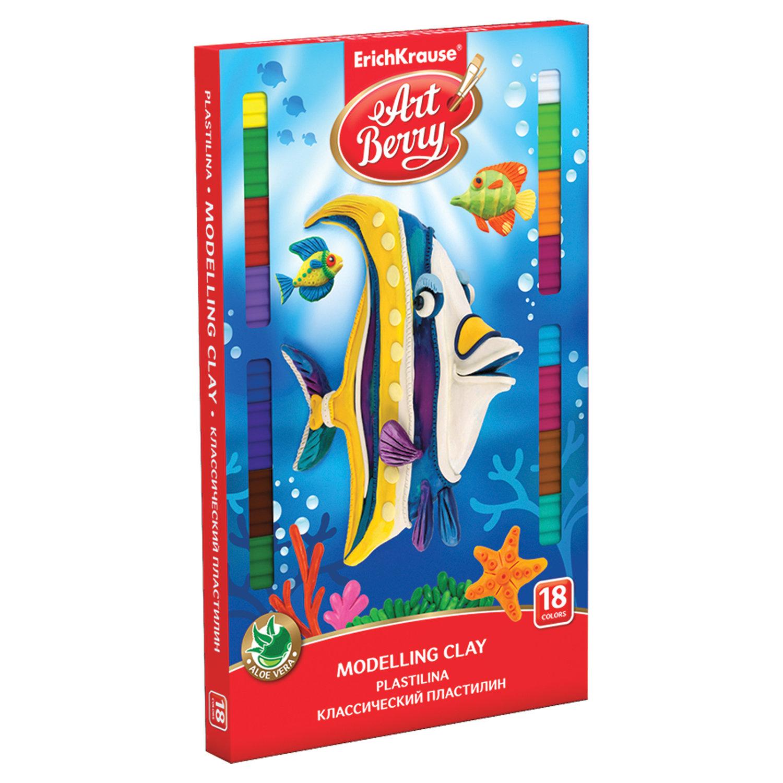 """Пластилин классический ERICH KRAUSE """"Artberry"""", 18 цветов, 324 г, со стеком, картонная упаковка, 41765"""