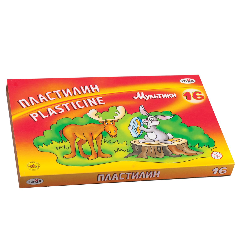 """Пластилин классический ГАММА """"Мультики"""", 16 цветов, 320 г, со стеком, картонная упаковка, 280027/281027"""