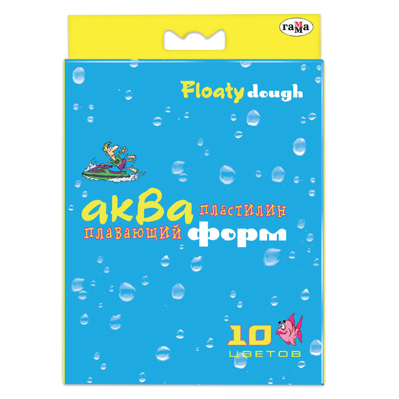"""Пластилин плавающий ГАММА """"Акваформ"""", 10 цветов, 42 г, со стеком, картонная упаковка, европодвес, 283001"""