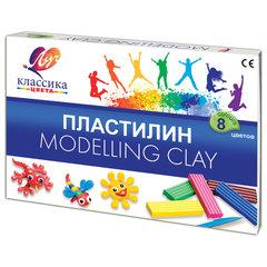 """Пластилин классический ЛУЧ """"Классика"""", 8 цветов, 160 г, со стеком, картонная упаковка, 12С 867-08"""