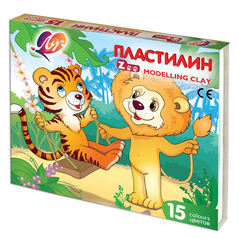 """Пластилин классический ЛУЧ """"Zoo"""", 15 цветов, 202,5 г, картонная коробка, 20С 1357-08"""