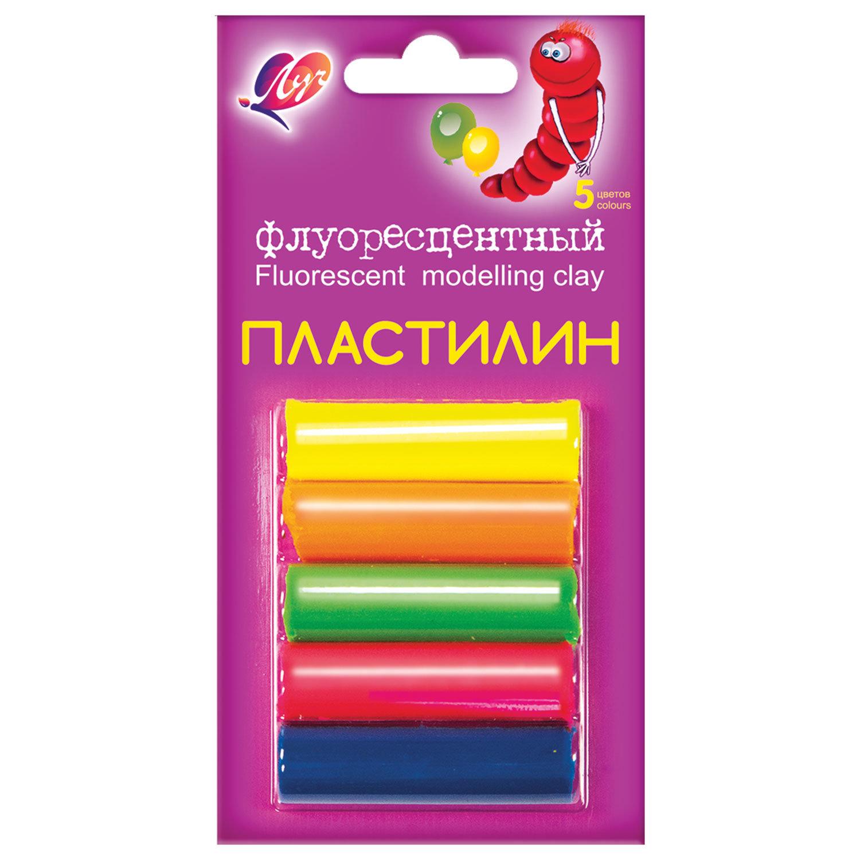 """Пластилин флуоресцентный ЛУЧ """"Флюрисветики"""", 5 цветов, 64 г, блистер, 12С 764-08"""