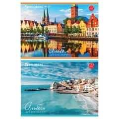 """Альбом для рисования, 32 л., BRAUBERG (БРАУБЕРГ), обложка мелованный картон, """"Города мира"""", 2 вида"""