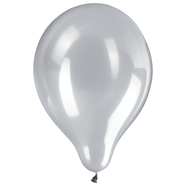 """Шары воздушные ZIPPY (ЗИППИ) 10"""" (25 см), комплект 50 шт., серебряный металлик, в пакете, 104182"""