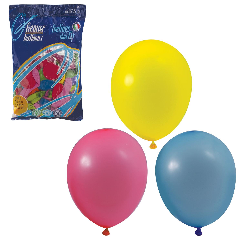 """Шары воздушные 10"""" (25 см), комплект 100 шт., 12 пастельных цветов, в пакете, 1101-0003"""