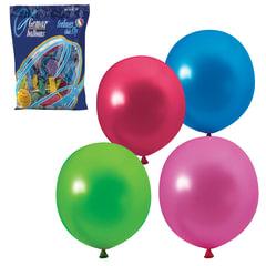 """Шары воздушные 12"""" (30 см), комплект 100 шт., 12 цветов металлик, в пакете"""