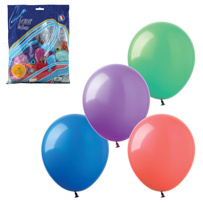 """Шары воздушные 14"""" (36 см), комплект 100 шт., 12 пастельных цветов, в пакете, 1101-0010"""