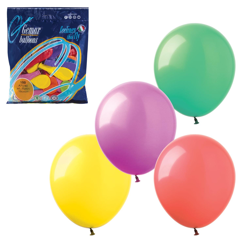 """Шары воздушные 7"""" (18 см), комплект 100 шт., 12 пастельных цветов, в пакете, 1101-0022"""