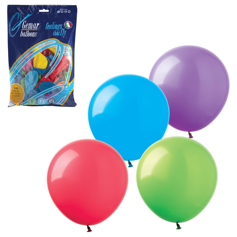 """Шары воздушные 8"""" (21 см), комплект 100 шт., 12 пастельных цветов, в пакете, 1101-0023"""