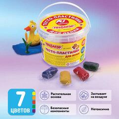 Пластилин на растительной основе (тесто для лепки) ПИФАГОР, 7 цветов, 420 г, пластиковое ведро, 104545