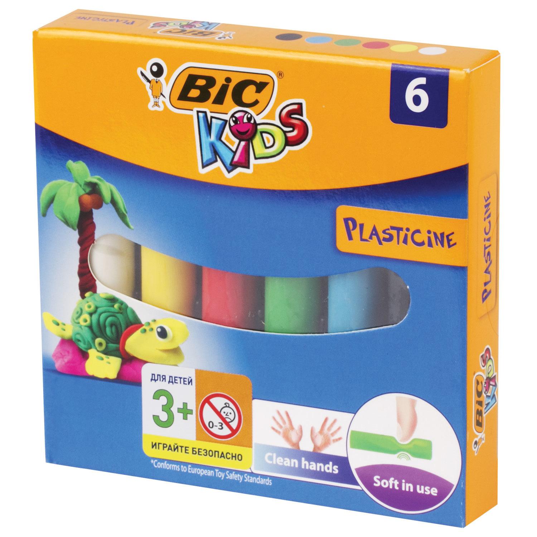 "Пластилин мягкий BIC ""Kids"", 6 цветов, 60 г, картонная упаковка, 947712"