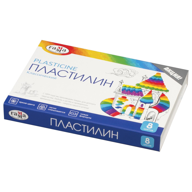 """Пластилин классический ГАММА """"Классический"""", 8 цветов, 160 г, со стеком, картонная упаковка, 281031"""