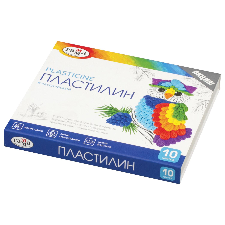 """Пластилин классический ГАММА """"Классический"""", 10 цветов, 200 г, со стеком, картонная упаковка, 281032"""
