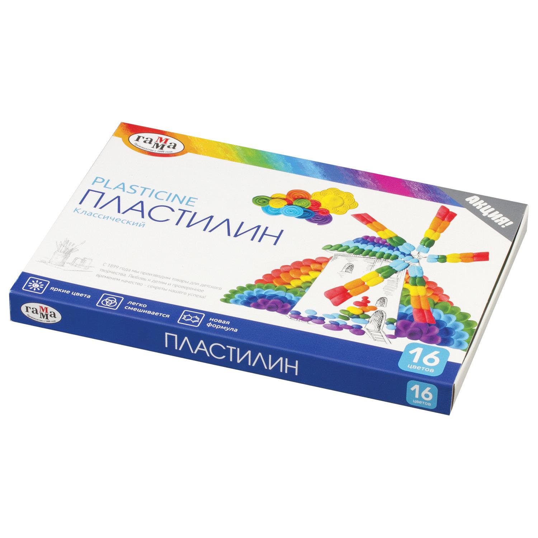 """Пластилин классический ГАММА """"Классический"""", 16 цветов, 320 г, со стеком, картонная упаковка, 281034"""