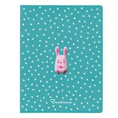 Дневник 1-11 класс, кожзам (лайт), полимерная наклейка, ляссе, 48 л., АЛЬТ, Кролик с сердцем