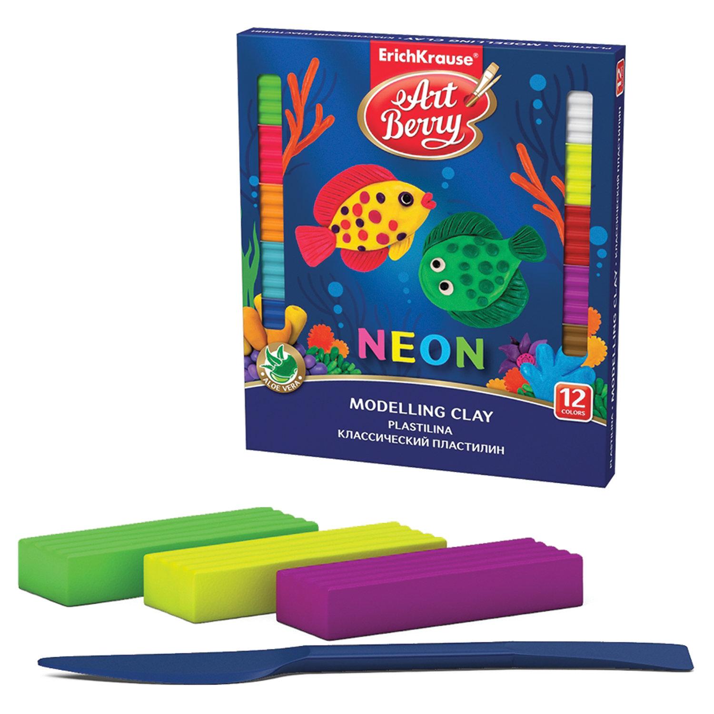 """Пластилин классический ERICH KRAUSE """"Artberry Neon"""", 12 цветов, 216 г, со стеком, картонная упаковка, 41767"""
