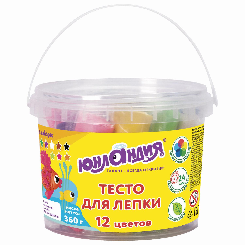 Пластилин на растительной основе (тесто для лепки) ЮНЛАНДИЯ, 12 цветов, 360 г, ведерко, 105504