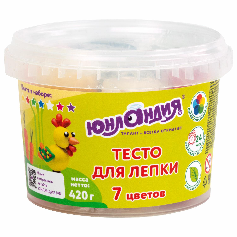 Пластилин на растительной основе (тесто для лепки) ЮНЛАНДИЯ, 7 цветов, 420 г, пластиковое ведро, 105506