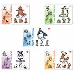 """Альбом для рисования А4 24 л., скоба, обложка картон, HATBER, 205х290 мм, """"Animals Yoga"""", 24А4В"""