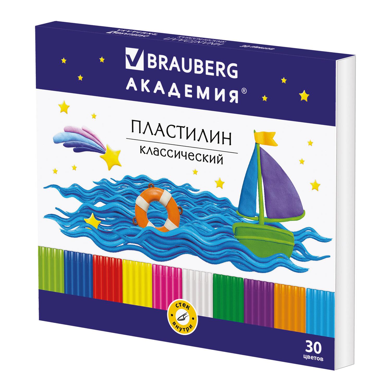 """Пластилин классический BRAUBERG """"АКАДЕМИЯ"""", 30 цветов, 600 г, со стеком, ВЫСШЕЕ КАЧЕСТВО, 105900"""