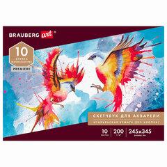 Альбом для акварели, бумага ИТАЛИЯ 200г/м 25% хлопок 245х345мм, 10л, BRAUBERG ART PREMIERE, 105911