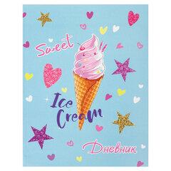 """Дневник 1-4 класс 48 л., гибкая обложка, ЮНЛАНДИЯ, выборочный лак, с подсказом, """"Мороженое"""", 106006"""