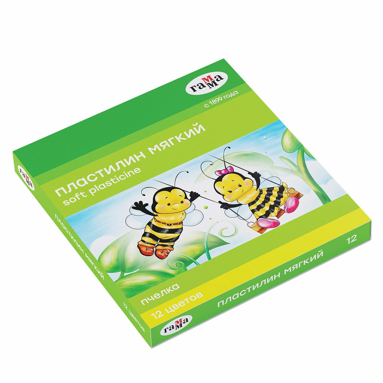 """Пластилин восковой ГАММА """"Пчелка"""", 12 цветов, 180 г, со стеком, картонная упаковка, 280032Н"""