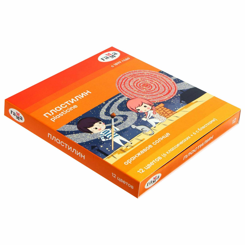 """Пластилин классический ГАММА """"Оранжевое солнце"""", 12 цветов, 6 классических + 6 с блестками, 168 г, стек, 130520205"""