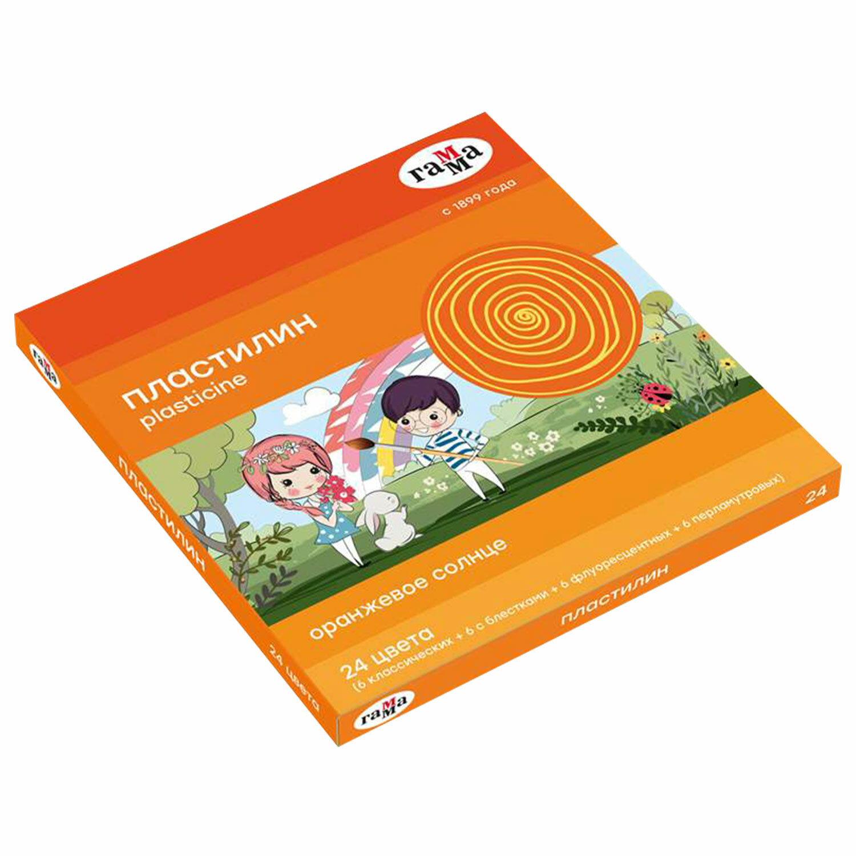"""Пластилин классический ГАММА """"Оранжевое солнце"""", 24 цвета, 312 г, стек, 130520207"""