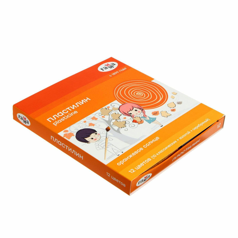 """Пластилин классический ГАММА """"Оранжевое солнце"""", 12 цветов, 10 классических + 1 золотой + 1 серебряный, 172 г, стек, 130520206"""