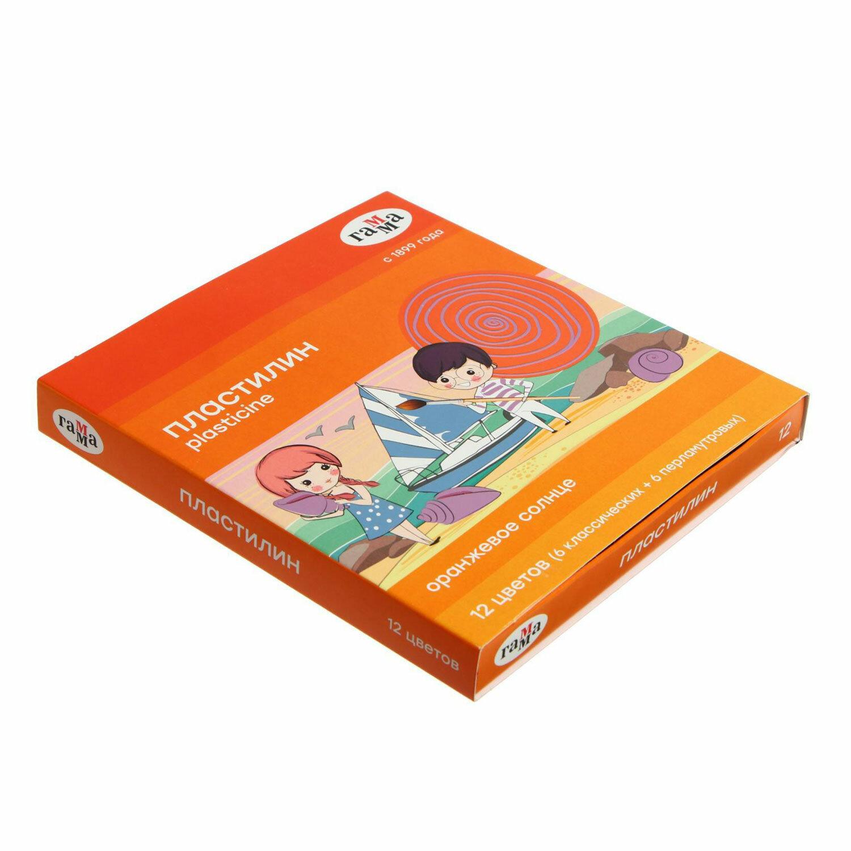 """Пластилин классический ГАММА """"Оранжевое солнце"""", 12 цветов, 6 классических + 6 перламутровых, 156 г, стек, 130520203"""