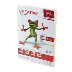 Бумага цветная CREATIVE color, А4, 80 г/м2, 100 л., пастель, желтая, БПpr-100ж