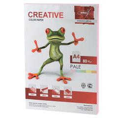 Бумага цветная CREATIVE color, А4, 80 г/м2, 100 л., пастель, розовая, БПpr-100р