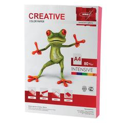 Бумага цветная CREATIVE color, А4, 80 г/м2, 100 л., интенсив, розовая, БИpr-100р