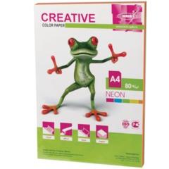 Бумага цветная CREATIVE color, А4, 80 г/м2, 50 л., (5 цветов х 10 листов) микс неон, БНpr-50r
