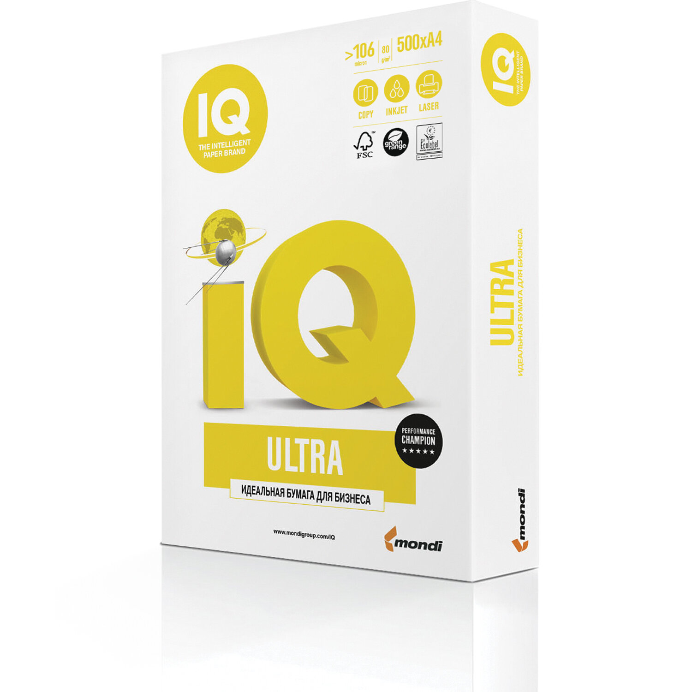 Бумага офисная IQ ULTRA, А4, 80 г/м2, 500 л., марка А, Mondi, белизна 168%