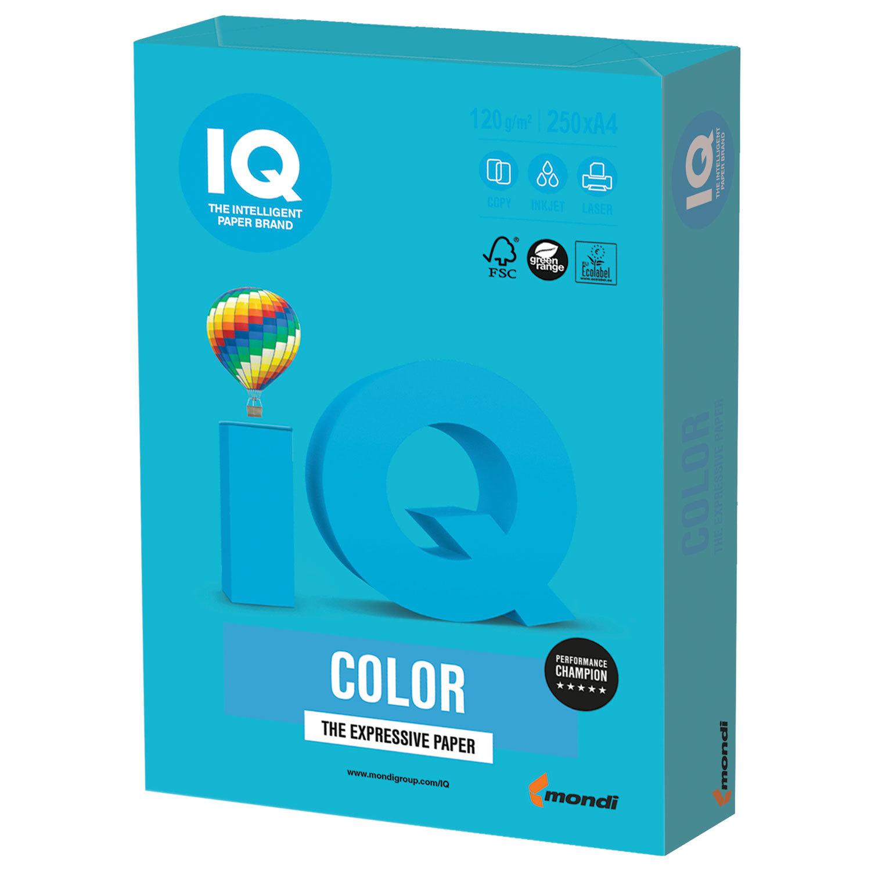 Бумага цветная IQ color, А4, 120 г/м2, 250 л., интенсив, светло-синяя, AB48