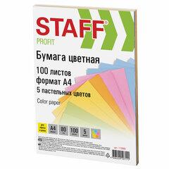 """Бумага цветная STAFF """"Profit"""", А4, 80 г/м2, 100 л. (5 цв. х 20 л.), пастель, для офиса и дома, 110889"""