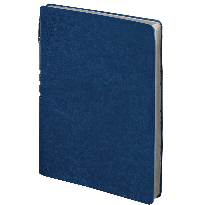 """Тетрадь А5 (175x215 мм), BRAUBERG """"NEBRASKA"""", 120 л., гибкая, под кожу, ручка, клетка, темно-синий, 110954"""