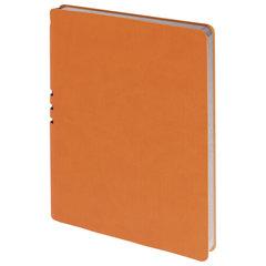 """Бизнес-тетрадь BRAUBERG """"NEBRASKA"""", А5+, 175x215 мм, кожзам, клетка, 120 листов, ручка, оранжевый"""