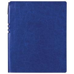 "Бизнес-тетрадь BRAUBERG ""NEBRASKA"", А4-, 220x265 мм, кожзам, клетка, 96 листов, ручка, синий"