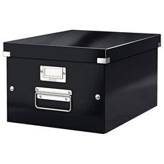 """Короб архивный LEITZ """"Click & Store"""" M, 200х280х370 мм, ламинированный картон, разборный, черный, 60440095"""