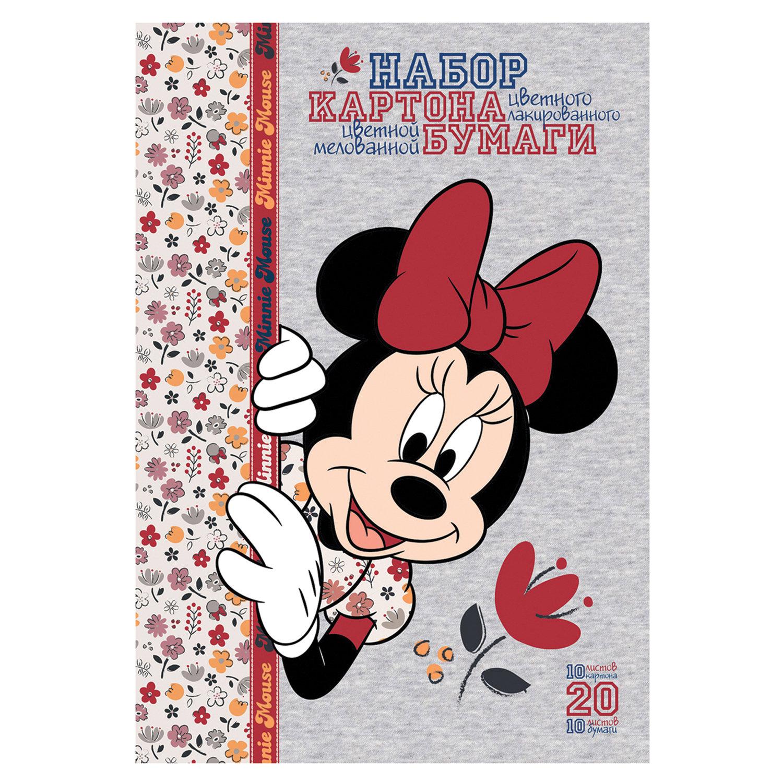 """Набор цветного картона и бумаги А4 мелованные, 10+10 листов, в папке, HATBER, 194х280 мм, """"Минни Маус"""", 20НКБ4"""