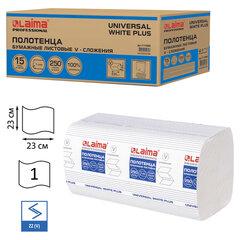 Полотенца бумажные 250 шт., LAIMA (H3) UNIVERSAL WHITE PLUS, 1-слойные, белые, КОМПЛЕКТ 15 пачек, 23х23, V-сложение, 111343