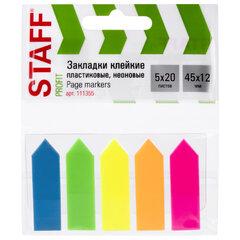 """Закладки клейкие STAFF НЕОНОВЫЕ """"СТРЕЛКИ"""", 45х12 мм, 5 цветов х 20 листов, в пластиковой книжке, 111355"""