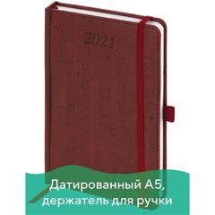 """Ежедневник датированный 2021 А5 (138х213 мм) BRAUBERG """"Wood"""", кожзам, держатель для ручки, бордовый, 111378"""